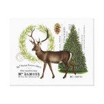 modern vintage woodland winter deer canvas prints