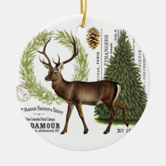 modern vintage woodland winter deer christmas ornament
