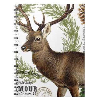 modern vintage woodland winter deer spiral notebook