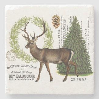 modern vintage woodland winter deer stone coaster