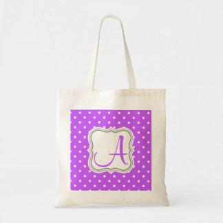 Modern violet polka dot monogram initial name tote bag