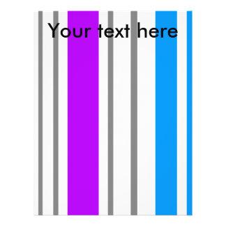 Modern violet white and blue stripes custom flyer