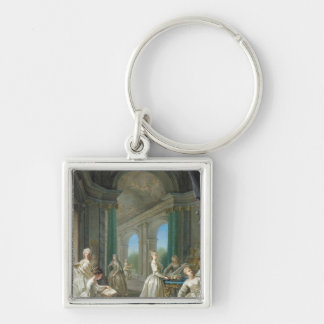 Modern Virgins, 1728 Silver-Colored Square Key Ring