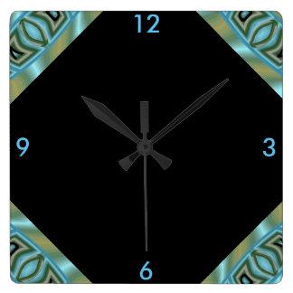 Modern Wall Clock 4 Home on Soft Blue/Peach/Black