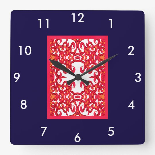 Modern Wall Clock 4 Home-Red/Navy Blue/White