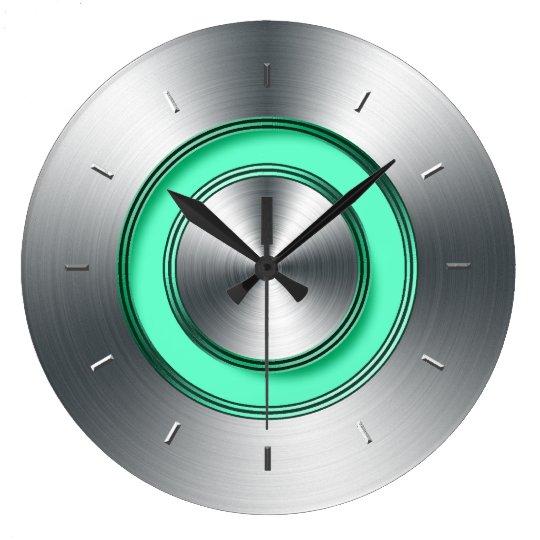 Modern Wall Clock For Kitchen Faux Metal Zazzle