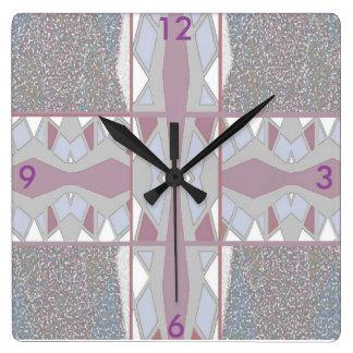 Modern Wall Clock-Home Decor- Mauve/White/Grey Square Wall Clock
