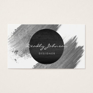Modern Watercolor Abstract Elegant Black White Business Card