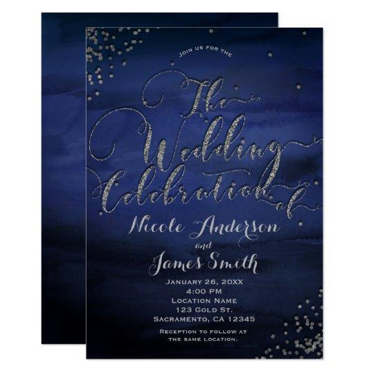Modern Watercolor Blue Silver Wedding Celebration Card
