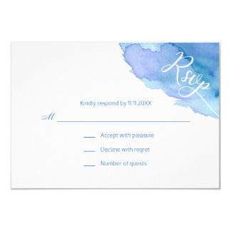 Modern Watercolor Blue Teal Turquoise RSVP Wedding Card