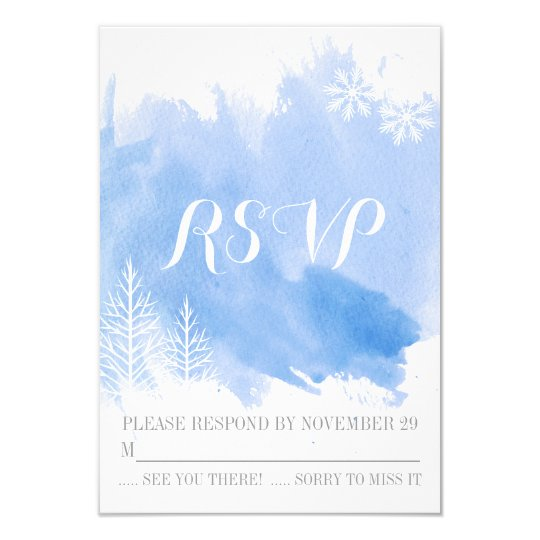 Modern watercolor blue winter wedding RSVP reply Card