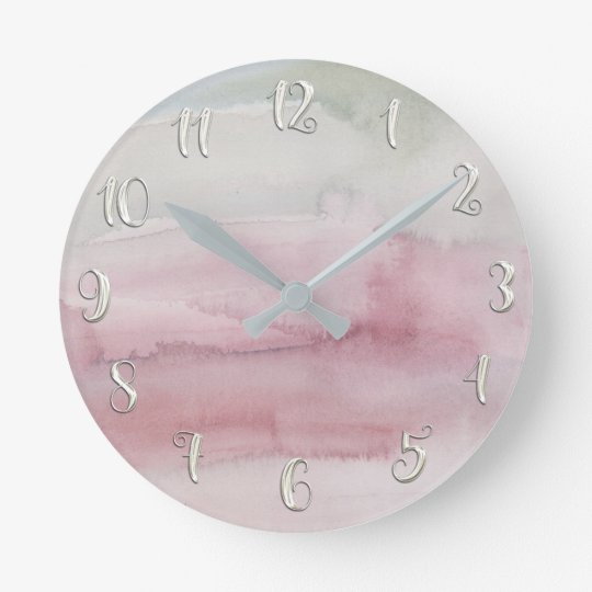 Modern Watercolor Blush Pink Grey Glam Custom Round