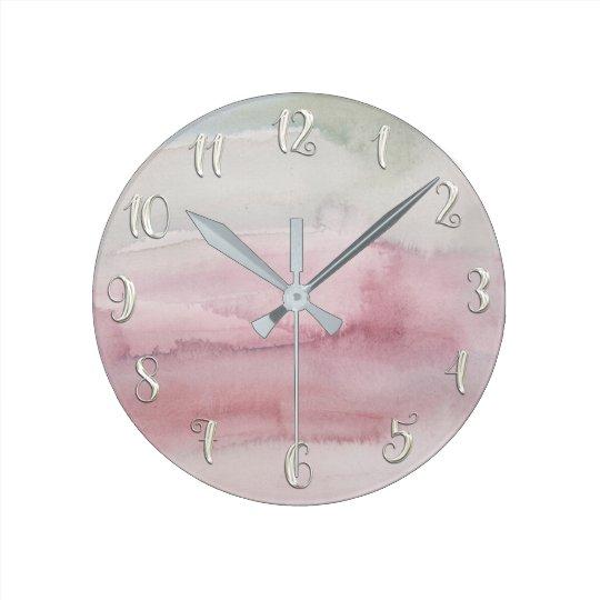 Modern Watercolor Blush Pink Grey Glam Custom Round