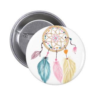 Modern watercolor boho dreamcatcher feathers 6 cm round badge