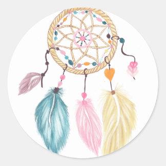 Modern watercolor boho dreamcatcher feathers classic round sticker