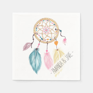 Modern watercolor boho dreamcatcher feathers disposable napkin
