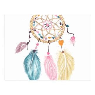 Modern watercolor boho dreamcatcher feathers postcard