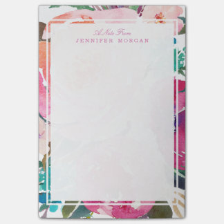 Modern Watercolor Botanical Garden Flowers Post-it Notes