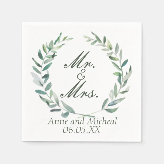 Modern Watercolor Branches Wedding Cocktail Napkin Disposable Serviettes