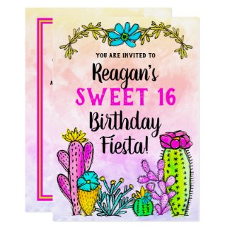Modern Watercolor Cactus Succulent Birthday Fiesta Invitation