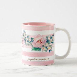 MODERN Watercolor Chic Wide Stripes w Roses Two-Tone Mug