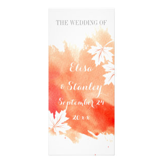 Modern watercolor coral peach wedding program rack card