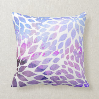 Modern Watercolor Dahlia Blooms, purple blue Cushion