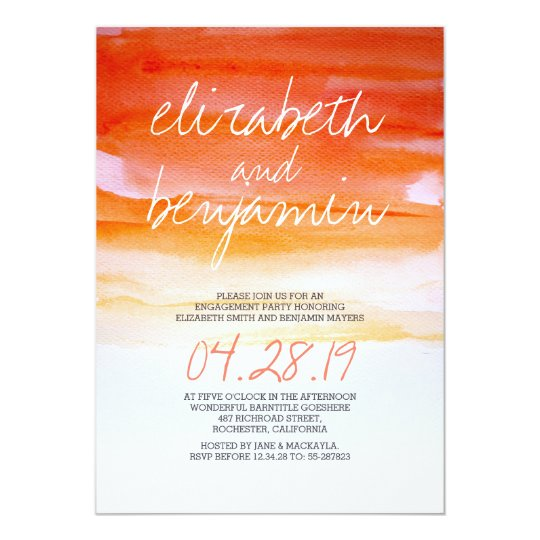 Modern watercolor engagement party invitations