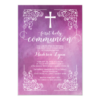 "Modern Watercolor First Holy Communion Invitation 5"" X 7"" Invitation Card"