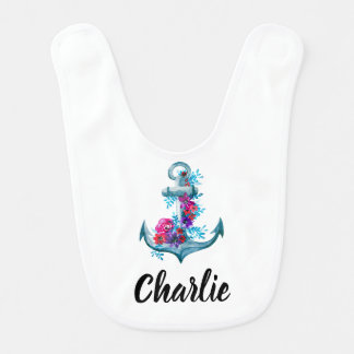 Modern Watercolor Floral Anchor Personalized Bib