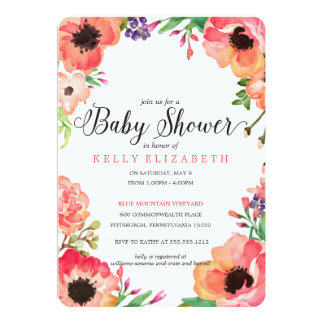 MODERN WATERCOLOR FLORAL baby shower invitation