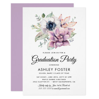 Modern Watercolor Floral Bloom Graduate Party Card