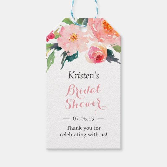 modern watercolor floral decor bridal shower gift tags