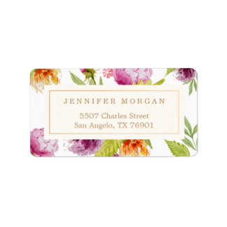 Modern Watercolor Floral Elegant Decor Address Label