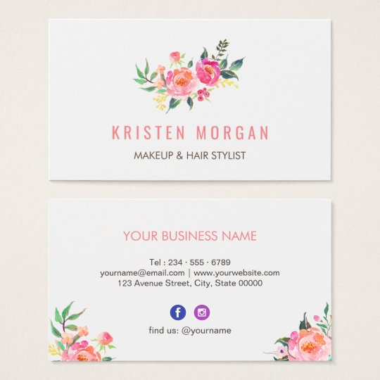 modern watercolor floral facebook instagram icon business card. Black Bedroom Furniture Sets. Home Design Ideas