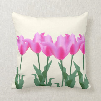 Modern Watercolor floral pink tulips flower spring Cushion