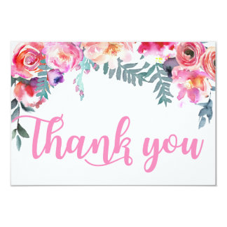 Modern Watercolor Floral Thank You Card