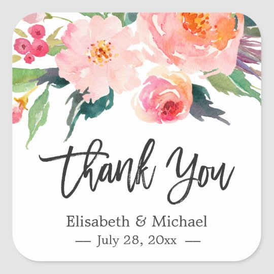 Modern Watercolor Floral Thank You Wedding Favour Square