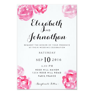 Modern Watercolor Floral Wedding Invitation