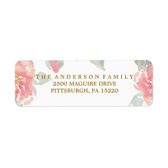MODERN WATERCOLOR FLOWER Return Address Label