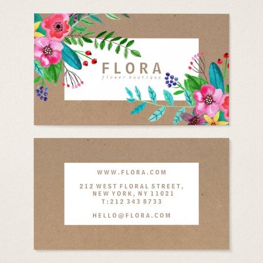 Modern watercolor flowers art brown paper florist business card modern watercolor flowers art brown paper florist business card mightylinksfo