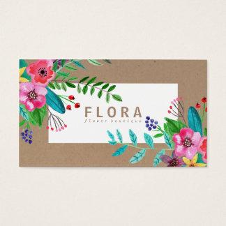 Modern watercolor flowers art brown paper florist business card