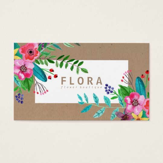 Modern watercolor flowers art brown paper florist business