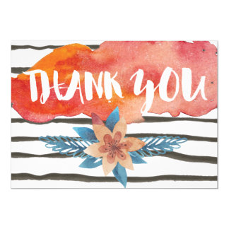modern watercolor flowers black stripe thank you card