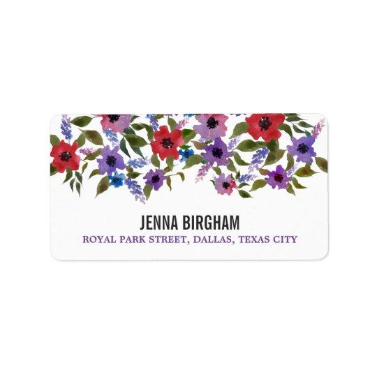 Modern Watercolor Flowers Chic Wedding Address Label