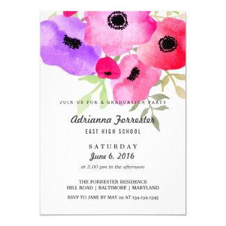Modern Watercolor Flowers Graduation Party 13 Cm X 18 Cm Invitation Card