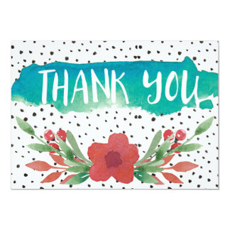 modern watercolor flowers polka dot thank you card