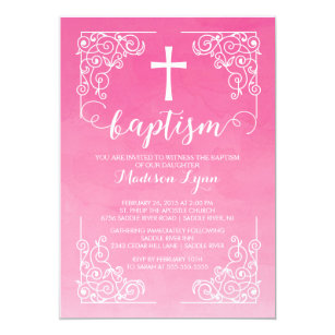 Modern christening baptism invitations zazzle modern watercolor girls baptism christening cross invitation stopboris Gallery