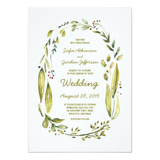 Modern Watercolor Greenery Laurel Wedding Card