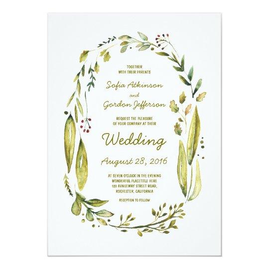 Modern Watercolor Laurel Leaves Wedding Card